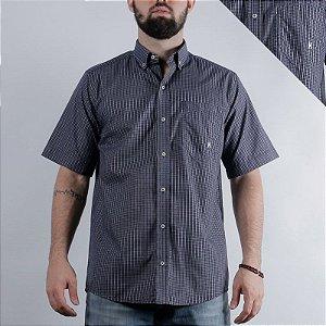 camisa manga curta xadrez azul 2258c- txc