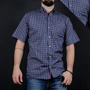 camisa manga curta xadrez azul 2214c - txc