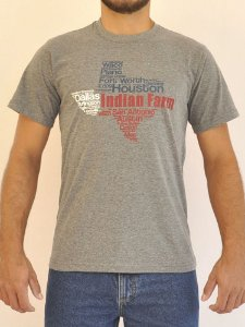 Camiseta Cinza Escura Bandeira Texas Letras - Indian Farm