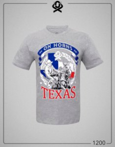 Camiseta Cinza Texas 1200 - Ox Horns
