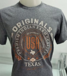 CAMISETA INDIAN FARM CINZA TEXAS