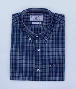 CAMISA RIVERTON AZUL MC 030510 REGULAR FIT
