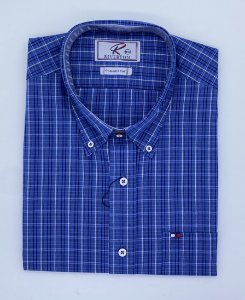 CAMISA RIVERTON AZUL MC 030536 REGULAR FIT