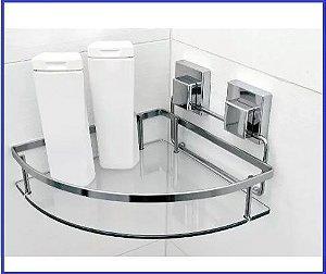 Suporte Porta Shampoo de Canto Fixação Com Ventosa Smartloc - Ou LOC 702