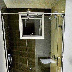 Box de Banheiro Elegance Idea Glass com Roldanas Aparentes em Aço Inox