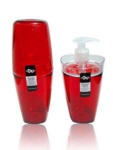 Porta Escova de Dente e Porta Sabonete Liquido - Conjunto de Banheiro Tule Ou