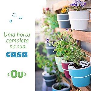 Conjunto Horta em Casa Vasos M Autoirrigáveis Com Suporte - Linha Plantar Ou