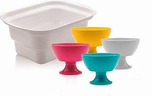Conjunto Porta Sorvete e 4 Taças Coloridas para Sobremesa - Linha Servir Ou Martiplast