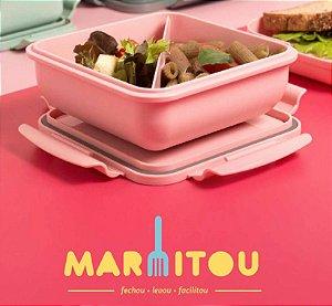 Lançamento Marmita Hermética Quadrada Com Divisória e opções de cores - Linha Marmitou OU