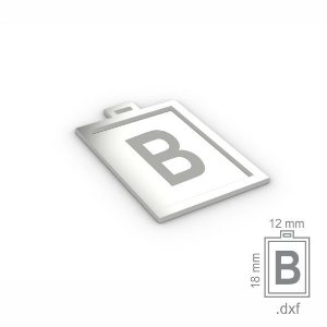 """PINGENTE """"B"""" -  RETANGULAR 18X12MM"""