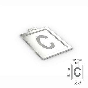 """PINGENTE """"C"""" -  RETANGULAR 18X12MM"""