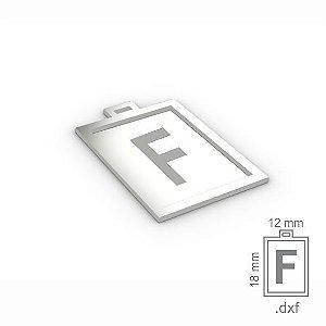 """PINGENTE """"F"""" -  RETANGULAR 18X12MM"""