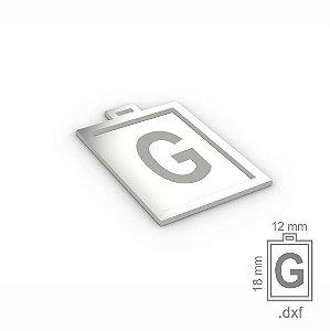"""PINGENTE """"G"""" -  RETANGULAR 18X12MM"""