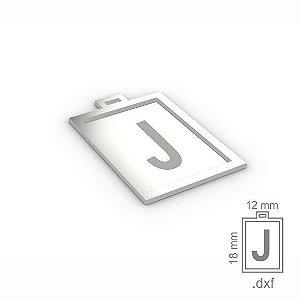 """PINGENTE """"J"""" -  RETANGULAR 18X12MM"""