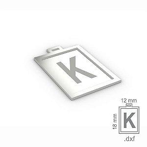 """PINGENTE """"K"""" -  RETANGULAR 18X12MM"""