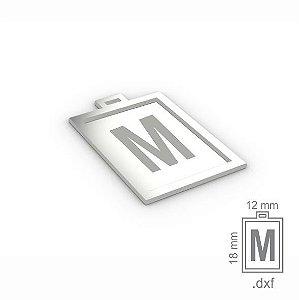 """PINGENTE """"M"""" -  RETANGULAR 18X12MM"""