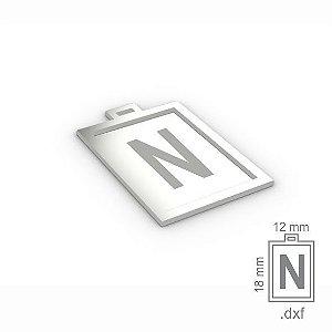 """PINGENTE """"N"""" -  RETANGULAR 18X12MM"""