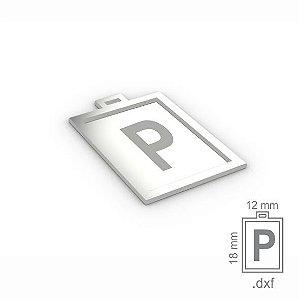"""PINGENTE """"P"""" -  RETANGULAR 18X12MM"""