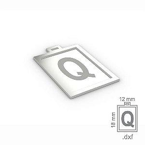 "PINGENTE ""Q"" -  RETANGULAR 18X12MM"