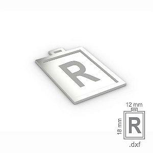 "PINGENTE ""R"" -  RETANGULAR 18X12MM"