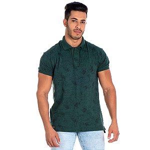 Camiseta Gola Polo Lucas Lunny Floral Verde