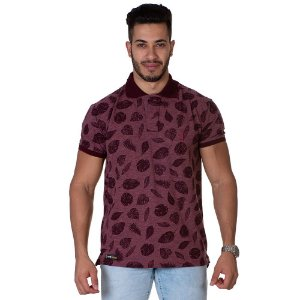 Camiseta Gola Polo Lucas Lunny Floral Vinho