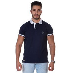 Camiseta Gola Polo Lucas Lunny Azul Noturno