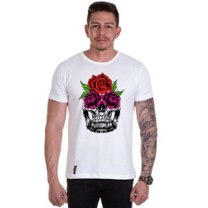Camisa Camiseta Personalizada Caveira Flor Olho