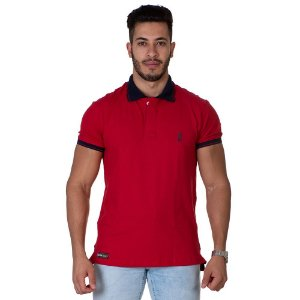 Camiseta Gola Polo Lucas Lunny Vermelha Gola azul