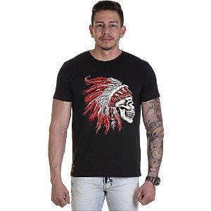 Camisa Camiseta Personalizada Caveira Cocar Vermelha