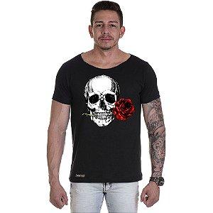 Camisa Camiseta Personalizada Caveira Rosa Boca