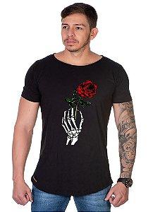Camiseta Lucas Lunny Oversized Longline  Mão flor