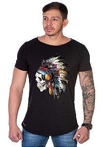 Camiseta Lucas Lunny Oversized Longline Caveira Indio