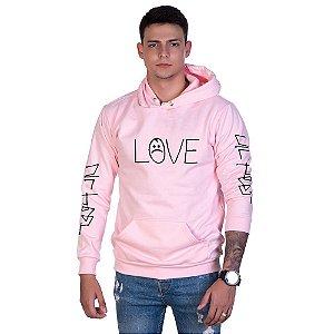Moletom Estampado Love Canguru Unissex Lucas Lunny com Capuz