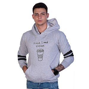 Moletom Estampado Coffee Canguru Unissex Lucas Lunny Capuz