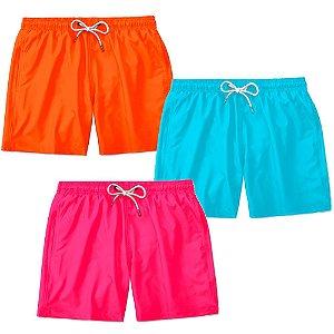 Kit 3 Shorts Praia Basico Lucas Lunny Masculino Ajustável
