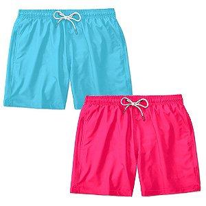 Kit 2 Shorts Praia Basico Liso Lucas Lunny Masculino Ajustável