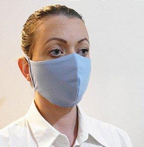 Máscara Azul Claro Proteção Facial  Tecido Camada Dupla com Tiras