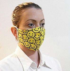 Máscara Divertida Amarela Emoji Smile 2 Camadas de Proteção
