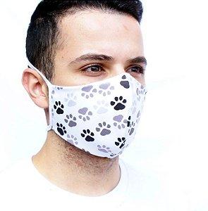 Máscara Divertida Pegadas Pet Confeccionada em Camada Dupla