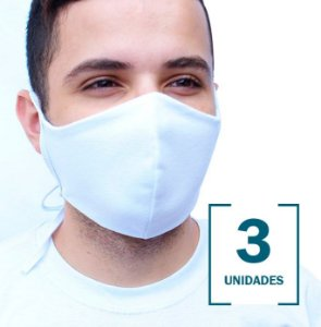 Kit com 3 Máscaras Brancas Lavável em Tecido de Camada Dupla