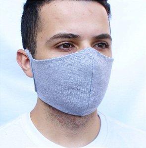 Máscara Cinza Mescla Confeccionada em Tecido Camada Dupla