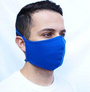 Máscara Azul Royal Confeccionada em Tecido Camada Dupla