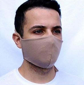Máscara Bege Confeccionada em Tecido Camada Dupla