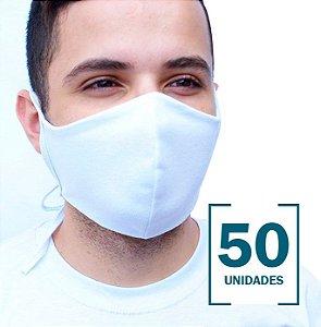 50 Máscaras Brancas sem Estampa com Camada Dupla de Proteção
