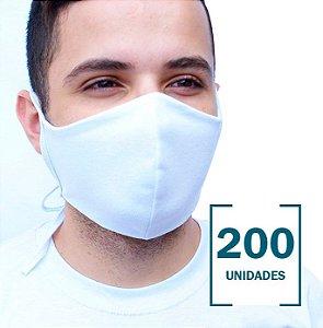200 Máscaras Brancas sem Estampa com Camada Dupla de Proteção