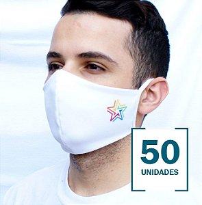50 Máscaras Brancas Personalizadas com Logotipo (4x4cm) de Sua Empresa