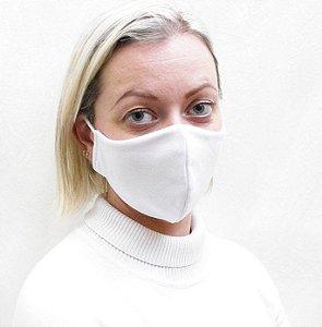 Máscara Branca em Tecido de Camada Dupla com Elásticos