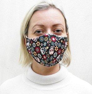 Máscara Caveira Mexicana com Elásticos de Orelha