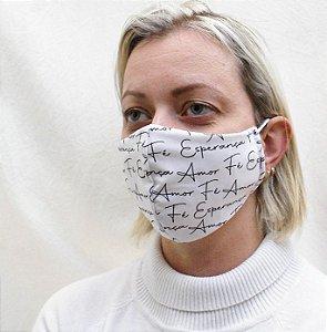 Máscara Fé Esperança e Amor com Elásticos de Orelha